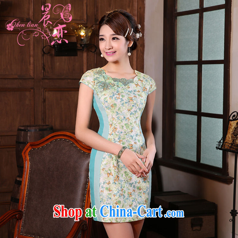 Morning love 2015 summer new stylish improved retro short cheongsam dress Chinese daily Butterfly Lovers blue XXL