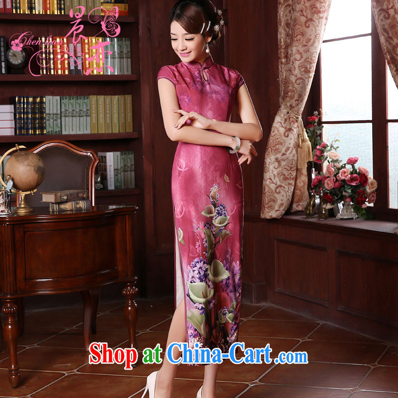 Morning dresses, new summer retro long improved stylish sauna silk silk Chinese qipao skirts of the Red Cross Red XXL