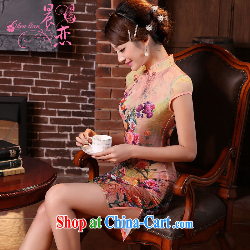 Morning, dresses new 2015 summer retro short improved stylish sauna silk silk Chinese qipao toner orange orange XL