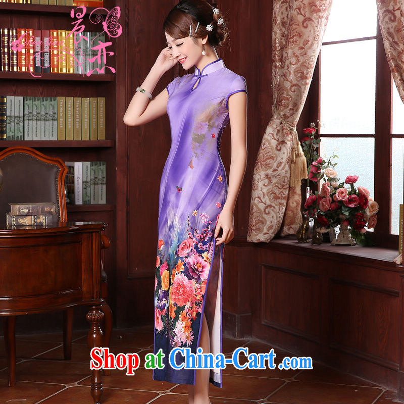 Morning dresses, new summer retro long improved stylish sauna silk silk Chinese qipao dress pink Purple light purple XXL