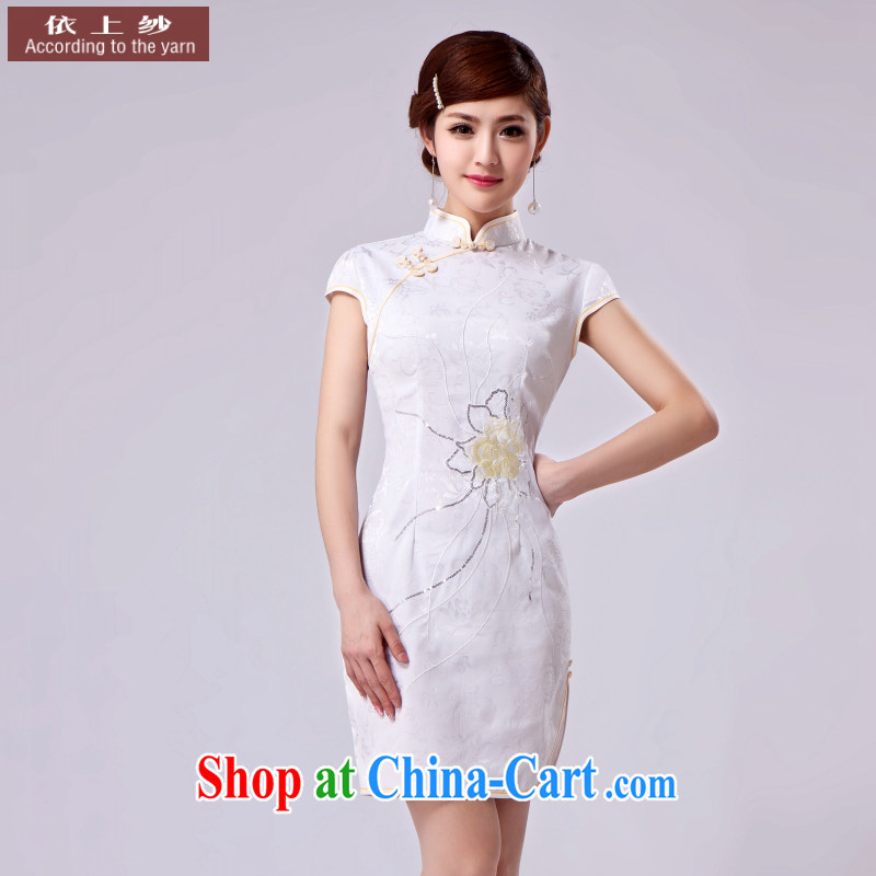 Dresses summer 2015 new improved daily retro beauty lady ethnic wind short cheongsam dress dress picture color S