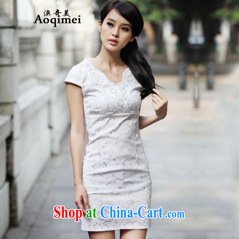 O, the US 2015 summer new, solid and elegant and stylish everyday outfit short-sleeved light and elegant 100 Ground Sense of cheongsam A 6922 light apricot XL