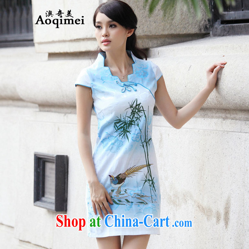O, the 2015 summer new cheongsam Chinese elegant and stylish everyday outfit short-sleeved light and elegant 100 Ground Sense of short A 6910 blue XL