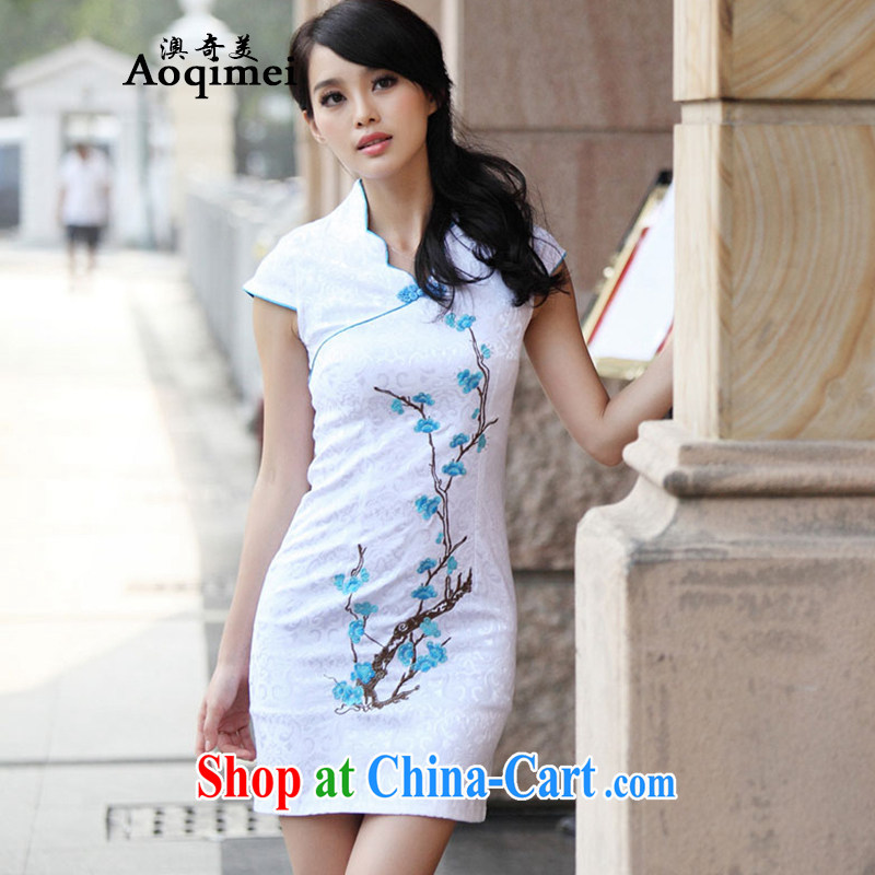 O, and the United States summer 2015 new, improved, Chinese elegant and stylish everyday dresses short-sleeve Slim and elegant 100 Ground Sense of cheongsam A 6909 blue XL