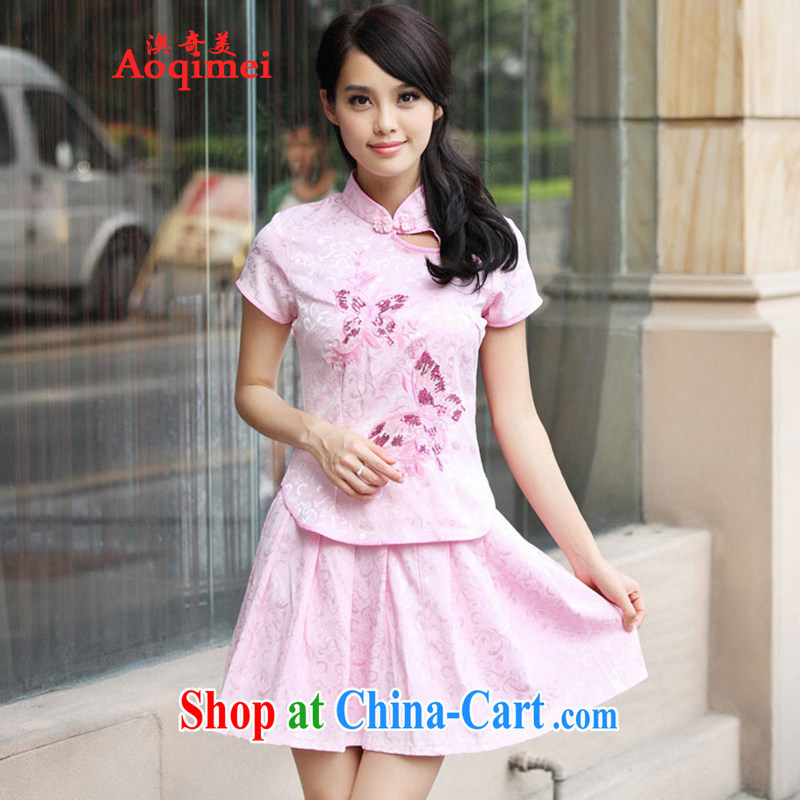 O, the 2015 summer new summer new, genuine goods package elegant retro fresh Chinese to Butterfly cheongsam dress kit A 6908 pink L