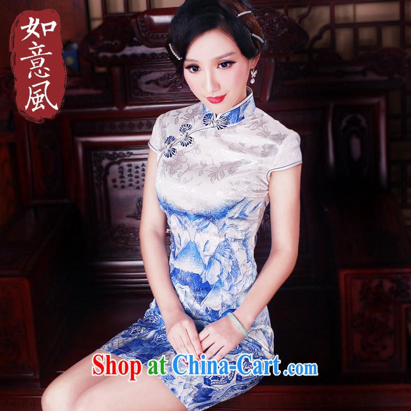 ruyi, 2015 new summer, short women dresses everyday dresses beauty short dresses qipao 5001 blue S