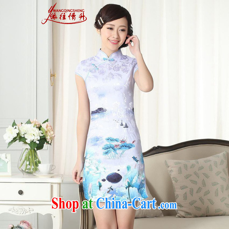According to the situation in summer new elegance Chinese qipao Chinese beauty short cheongsam dress LGDD _0260 figure 2 XL