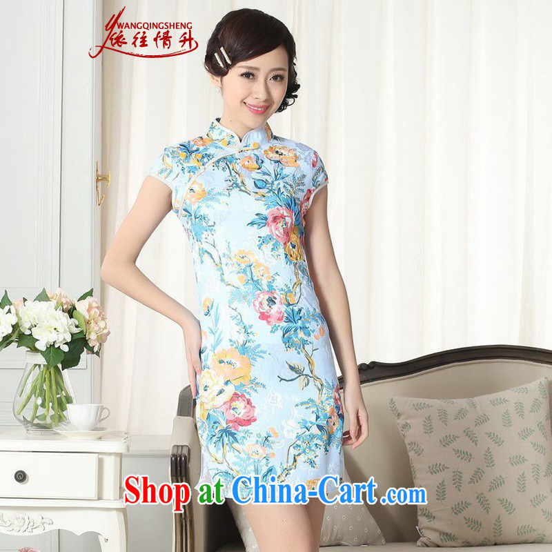 In accordance with the situation in summer new jacquard cotton improved Chinese qipao Classic tray snaps cultivating short cheongsam dress LGD/D #0261 figure 2 XL