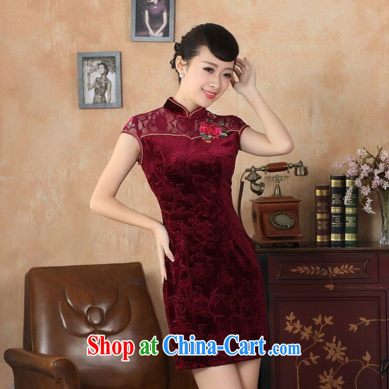 An Jing summer new female lace cheongsam dress improved daily thin embroidered cheongsam picture color 2 XL