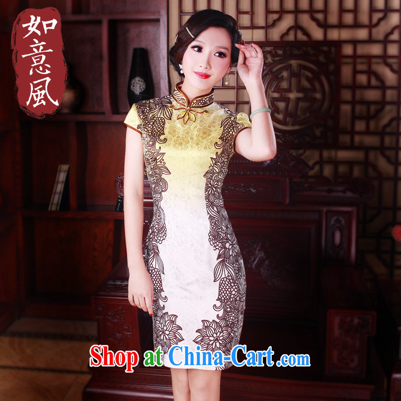 Ruyi wind spring short-sleeve dresses 2015 new retro style improved stylish dresses cheongsam dress suit 5004 XXL