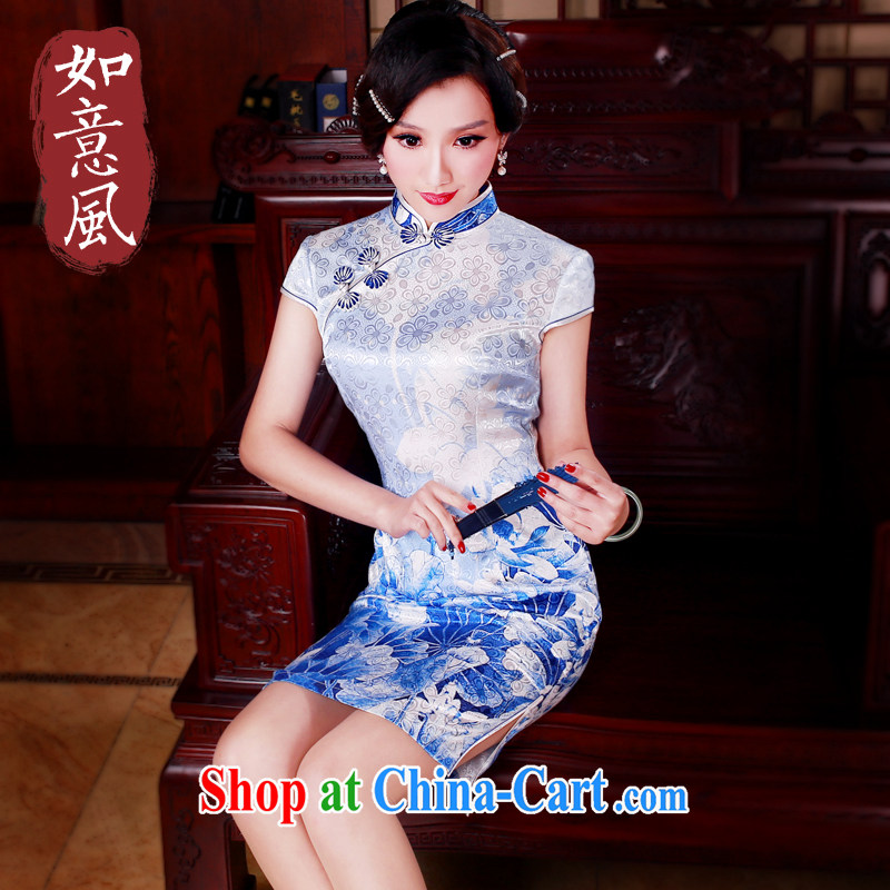ruyi, 2015 new stylish short retro improved temperament short summer dresses daily dress 5005 blue L