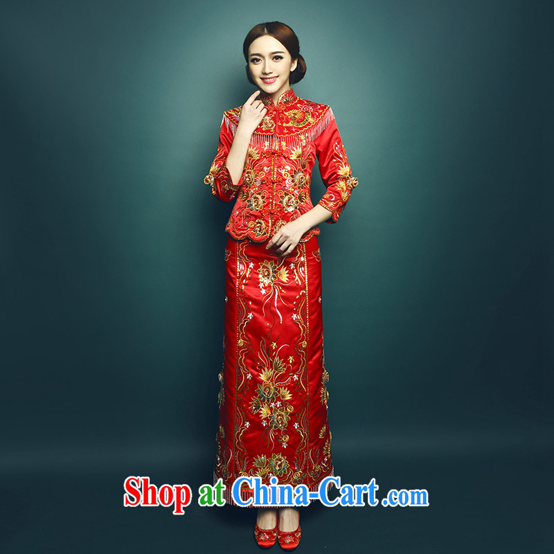 Mu Yao 2015 new show reel service bridal gown Sau kimono Chinese bride high-end-su Wo service Phoenix use long, long-sleeved clothing toast video thin 2-Piece red M brassieres 90 CM