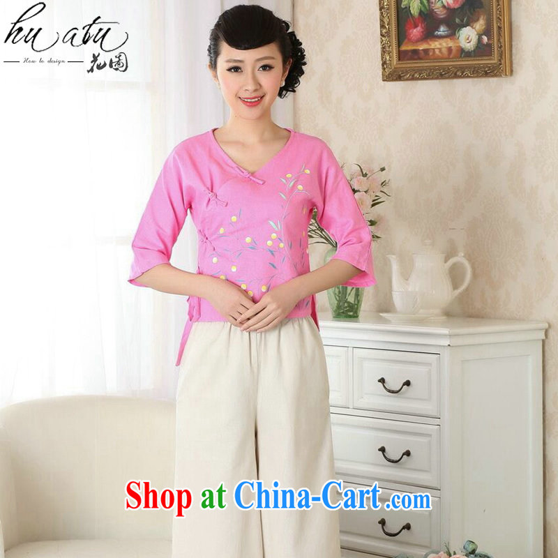 Take the cheongsam dress summer Chinese Ethnic Wind antique Chinese improved Chinese qipao V collar hand-painted cotton Ma shirt, T-shirt 2 XL
