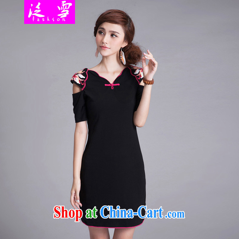 The snow-Ethnic Wind dresses 2015 summer, ladies embroidered ultra-slim body robes curved, with a short-sleeved V collar dress 8855 black XXL