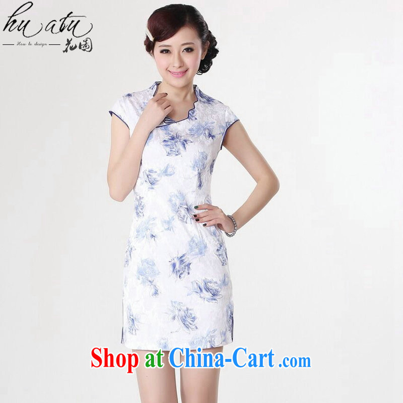spend the summer new cheongsam Chinese women improved Chinese clothing, for Chinese lace collar graphics thin short dresses such as the color 2 XL