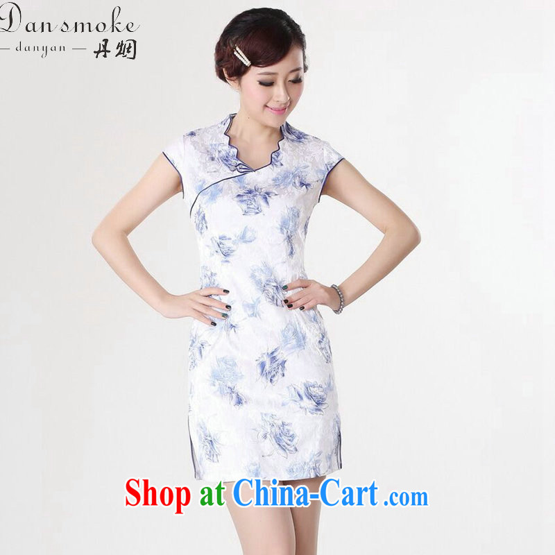 Bin Laden smoke-free summer wear new dresses Tang Women's clothes improved Chinese clothing, for Chinese lace collar graphics thin short dresses such as the color 2 XL