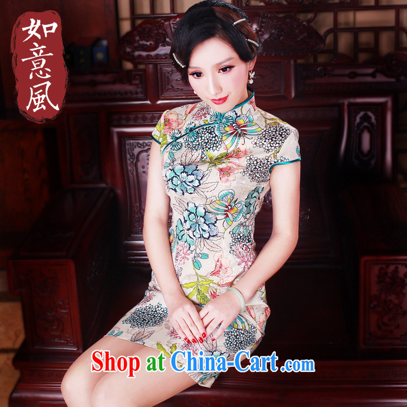 ruyi, 2015 new summer fashion improved retro short cheongsam dress dresses daily dress suit 5012 XXL