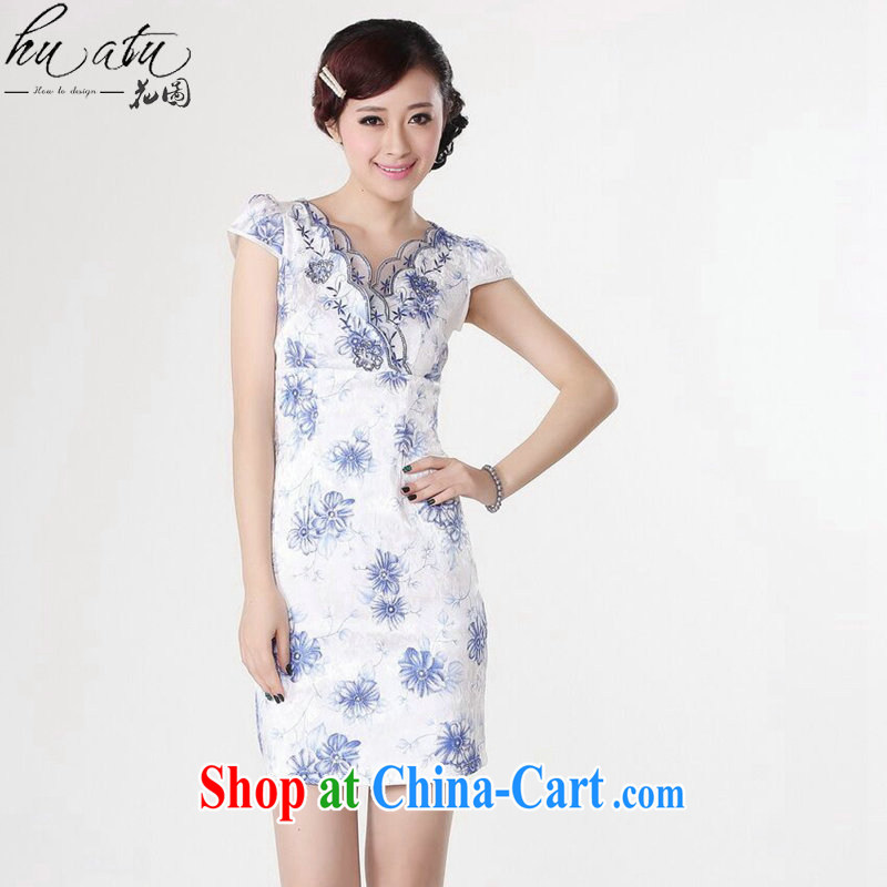 spend the summer dresses Women's clothes Chinese New Chinese improved Chinese qipao short sleeve embroidered V collar short dresses, such as the colors S