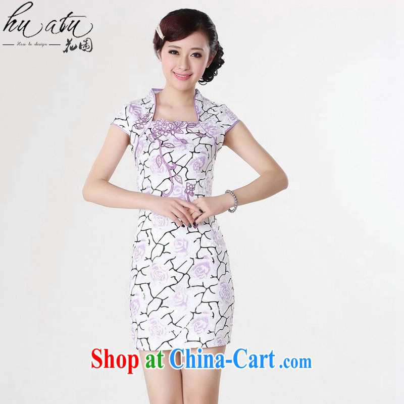 Take the Chinese summer new female cheongsam Chinese improved short, cotton, for stamp mini short cheongsam pink purple 2 XL