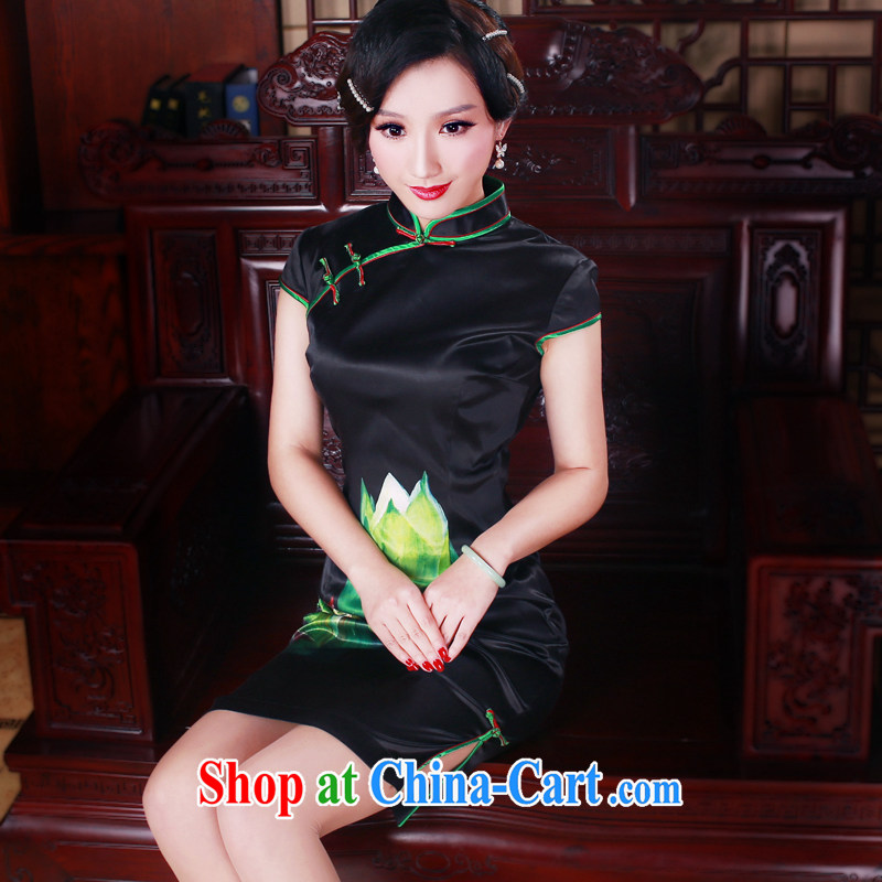 Unwind after the 2015 new summer original female Chinese improved and stylish everyday cheongsam dress 5080 black L