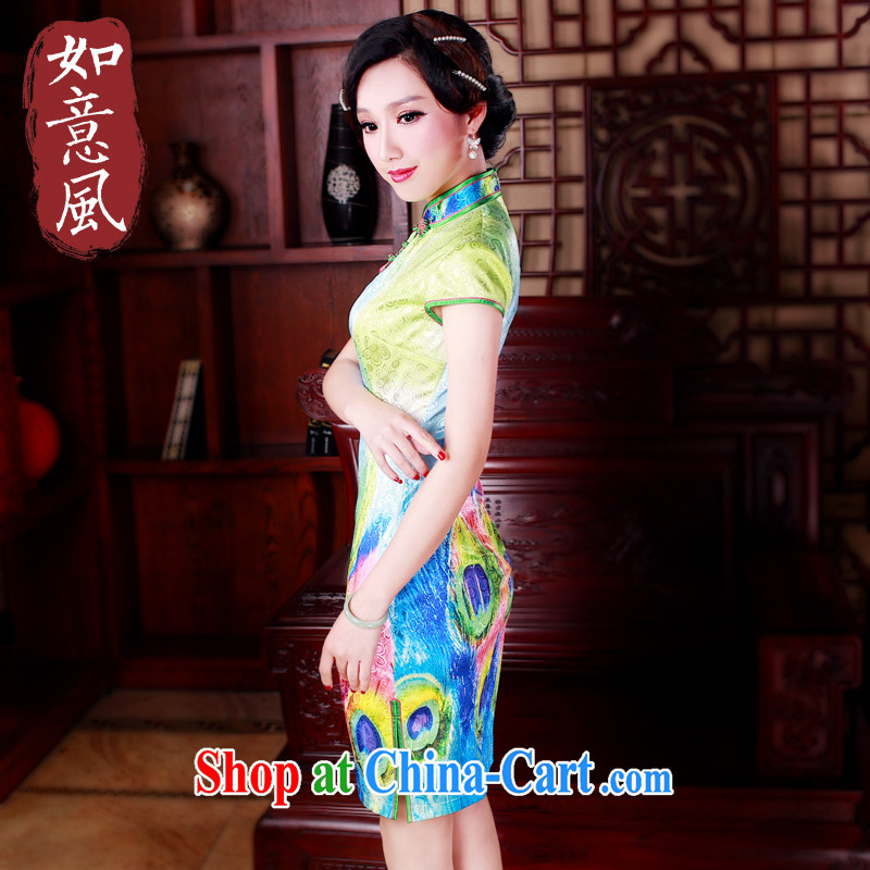 ruyi, 2015 new cheongsam dress stylish improved retro beauty daily short cheongsam dress suit 5006 XXL