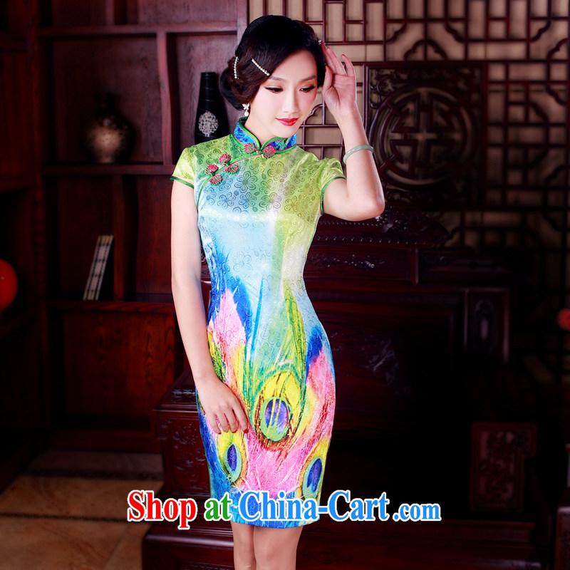 ruyi, 2015 new cheongsam dress stylish improved retro beauty daily short cheongsam dress suit 5006 XXL sporting, wind, shopping on the Internet