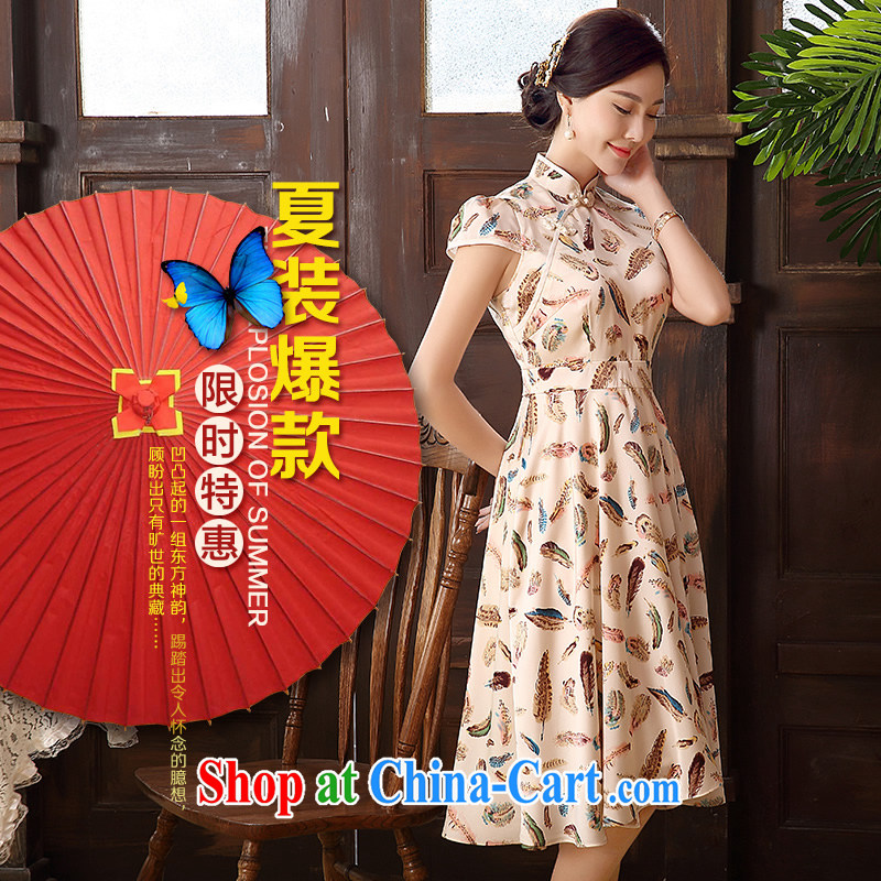 The CYD HO Kwun Tong' spirit feathers 2015 summer new retro ladies dress aura sense of floral skirt QD 5102 apricot M