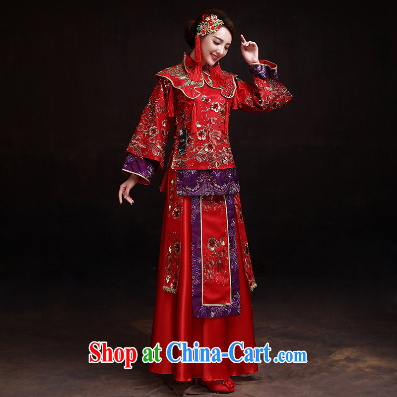 Dumping the married Yi Su-wo service bridal gown red Chinese Antique toast marriage service long cheongsam pregnant women wearing red L