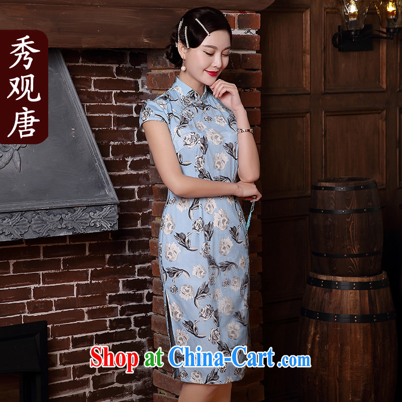 The CYD HO Kwun Tong' the leading edge 2015 new 3D digital printing improved stylish retro cheongsam dress Style Fashion dresses summer 5126 QD wine red XXL