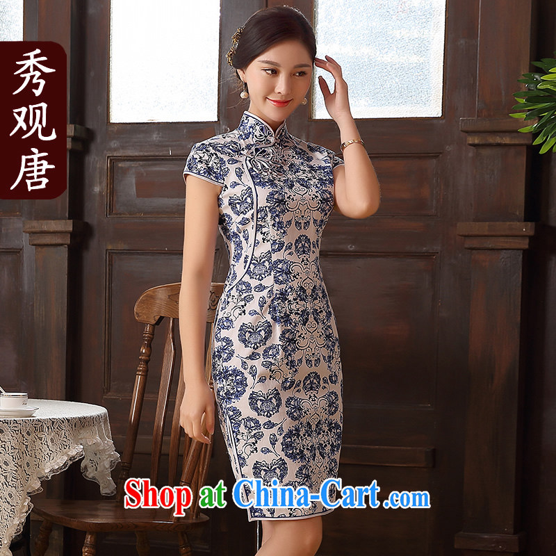 The CYD HO Kwun Tong' blue Diane 2015 summer blue and white porcelain cheongsam dress improved stylish stamp dresses QD 5132 blue-and-white XXL
