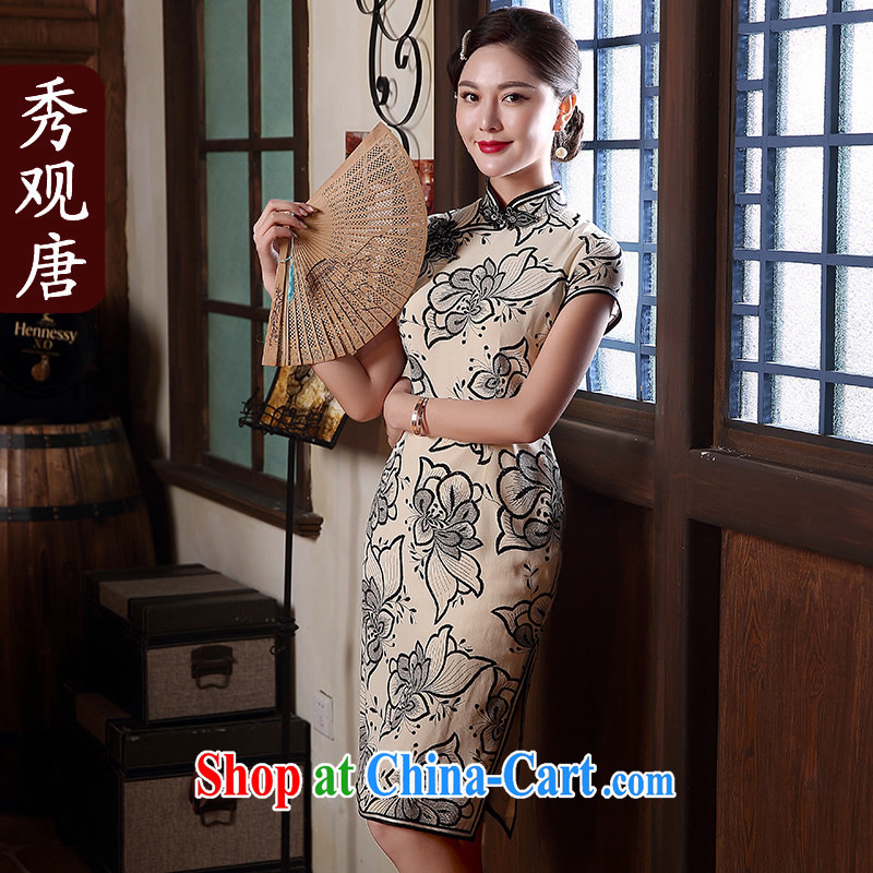 The CYD HO Kwun Tong' spend once and for all, summer 2015 New Silk Cheongsam sauna antique Silk Cheongsam dress QD 5141 fancy XXL