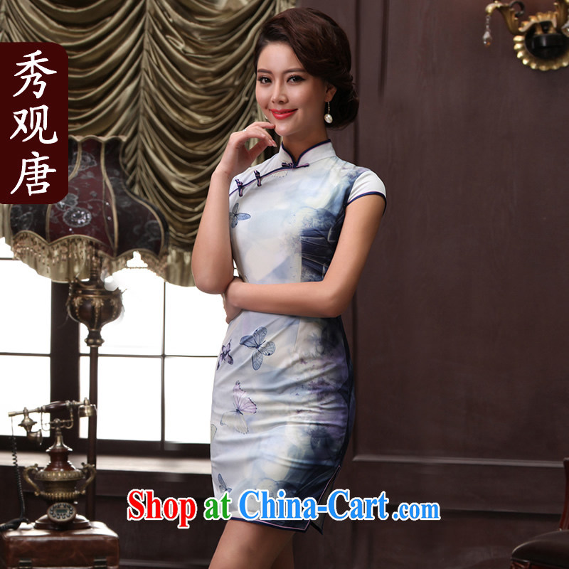 The CYD HO Kwun Tong' a butterfly 2015 summer new stylish stamp cheongsam dress improved antique cheongsam dress QD 5147 light blue XXL