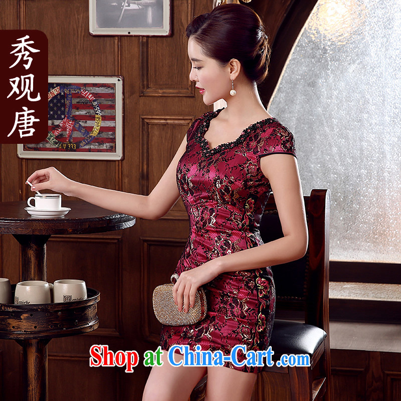 The CYD HO Kwun Tong' Purple, 2015 summer retro dresses improved the collar sexy female cheongsam dress KD 5154 wine red XL