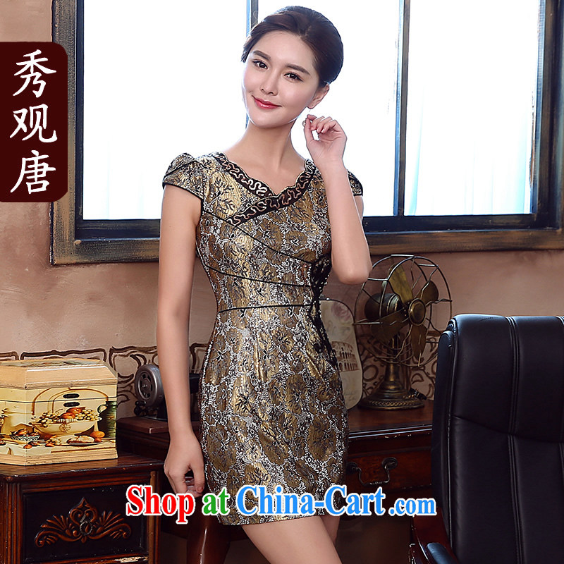 The CYD HO Kwun Tong' Kim Chan-style sexy lace dresses summer 2015 new retro cheongsam dress KD 5157 gold XL