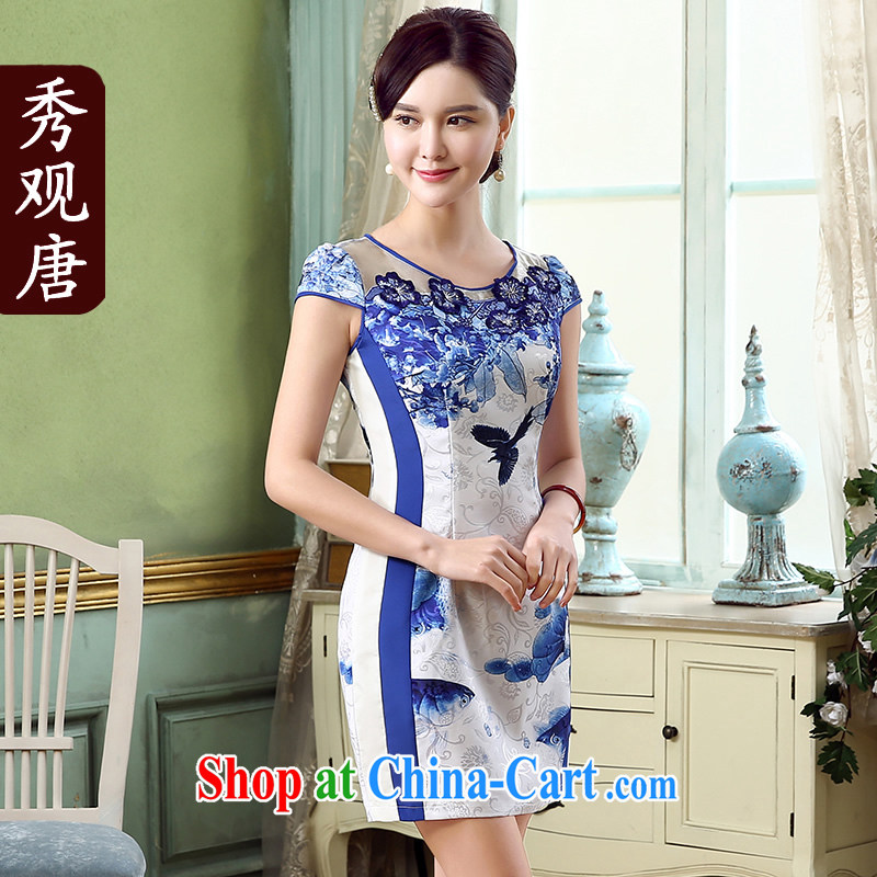 The CYD HO Kwun Tong' Chebi 2015 summer new stylish retro stamp dress improved cheongsam dress KD 5152 blue-and-white XL