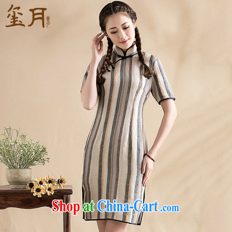 royal seal on the original 2015 art linen stripes and elegant qipao cuff in the Charge-back improved daily cheongsam dress picture color M