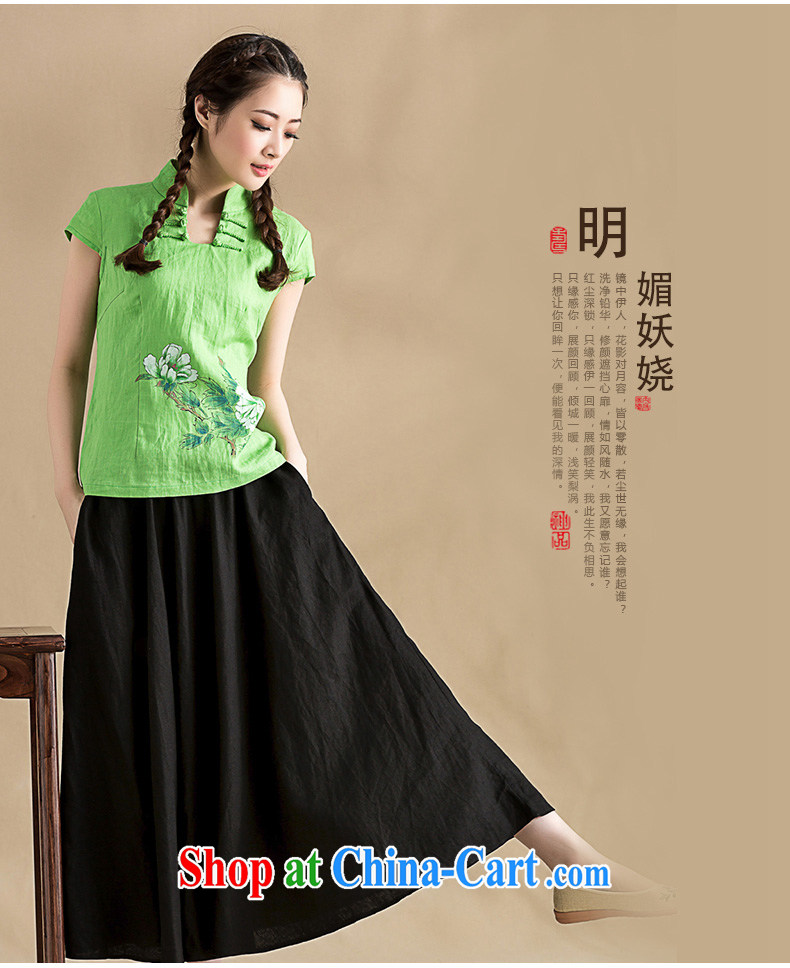 Royal Seal, summer 2015, hand-painted cotton Ma T-shirt China wind beauty graphics thin short-sleeved Chinese sweet blouses green L pictures, price, brand platters! Elections are good character, the national distribution, so why buy now enjoy more preferential! Health