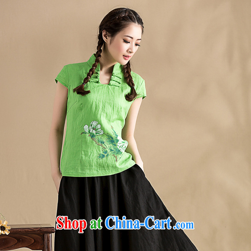 Royal Seal, summer 2015, hand-painted cotton Ma T-shirt China wind beauty graphics thin short-sleeved Chinese sweet blouses green L