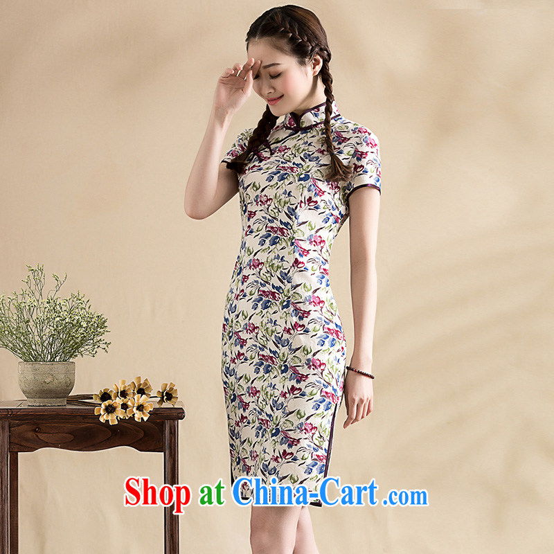 Seal, summer 2015 new units the Chinese floral short cheongsam-tie daily improved, qipao dresses floral XXL