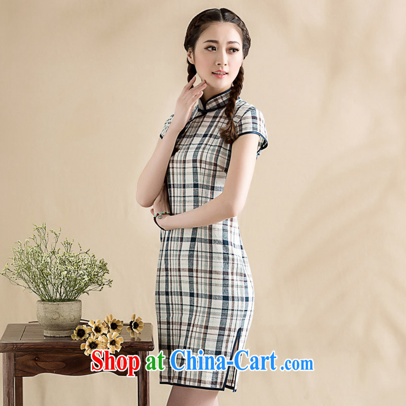 Seal, 2015 cotton the arts of Korea, qipao daily improved grid retro style, dresses skirts tartan S