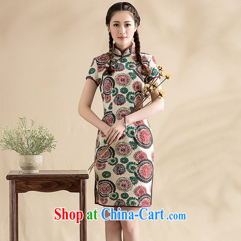 Seal 2015, spring and summer new cotton the literary and art daily the cheongsam dress, traditional Chinese Ethnic Wind female picture color XXL