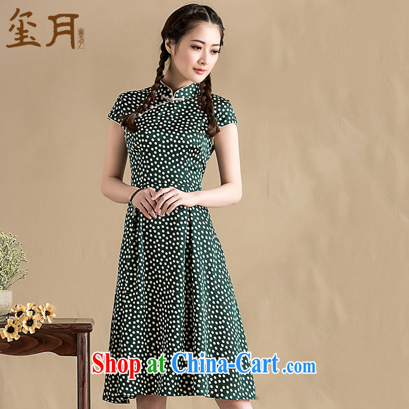 Royal Seal on 2015 original wave, snow-woven dresses, dresses retro Korea wind improved light Chinese swing skirt picture color XL