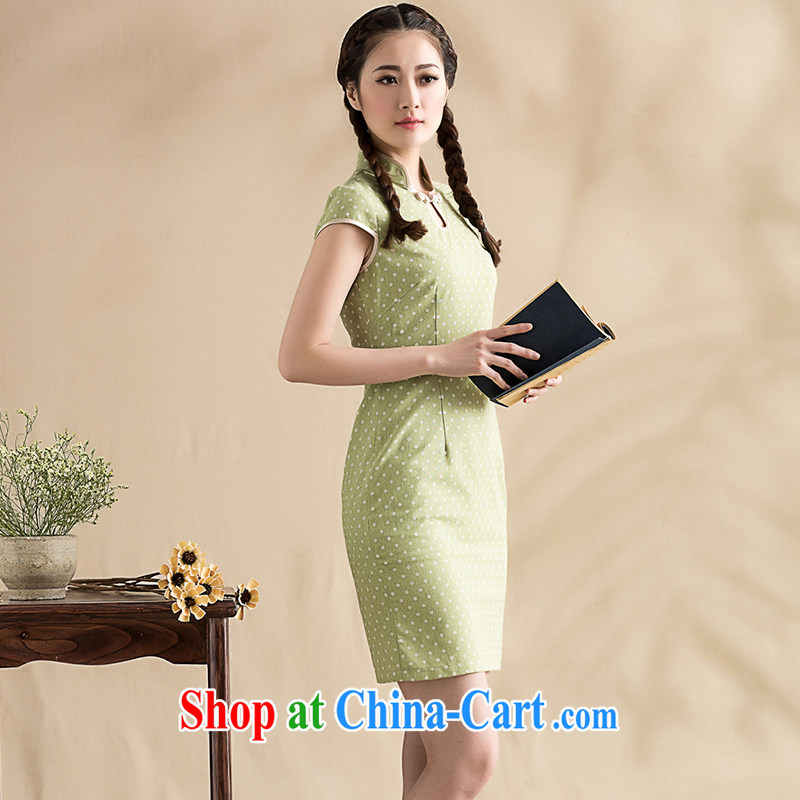 Royal Seal on 2015 original wave point cotton Ma arts cheongsam elegance Chinese female improved cheongsam dress picture color S