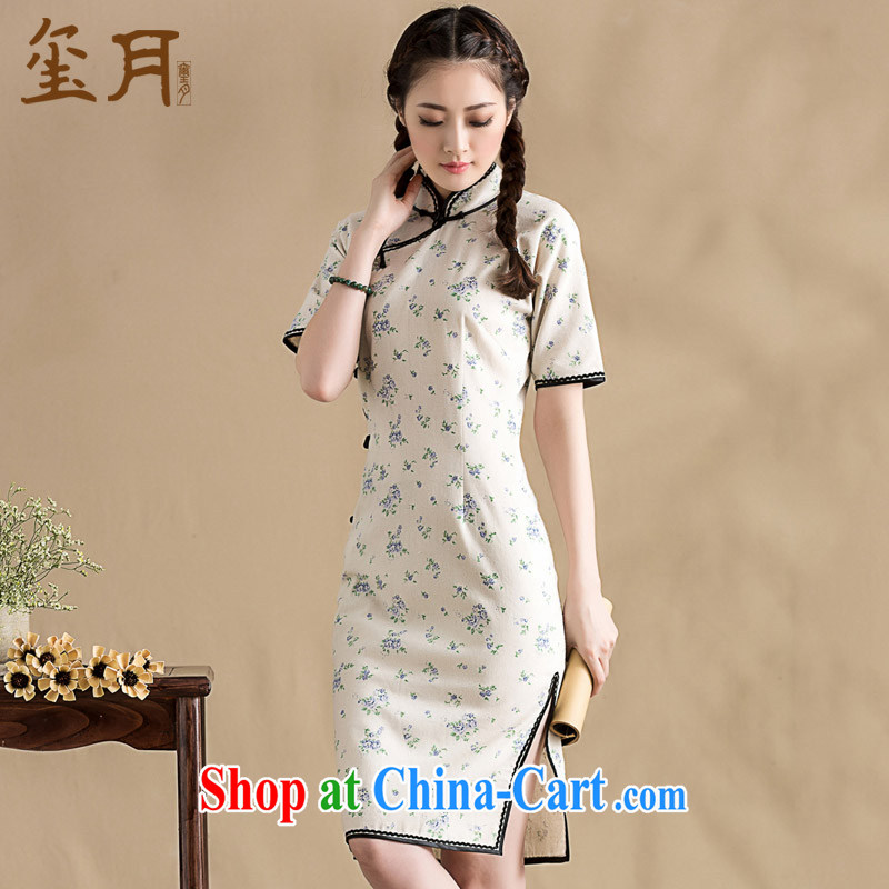 Royal Seal on 2015 original floral cotton Ma girls dresses hand-tie lace edge Chinese improved cheongsam dress picture color L pre-sale 15 days