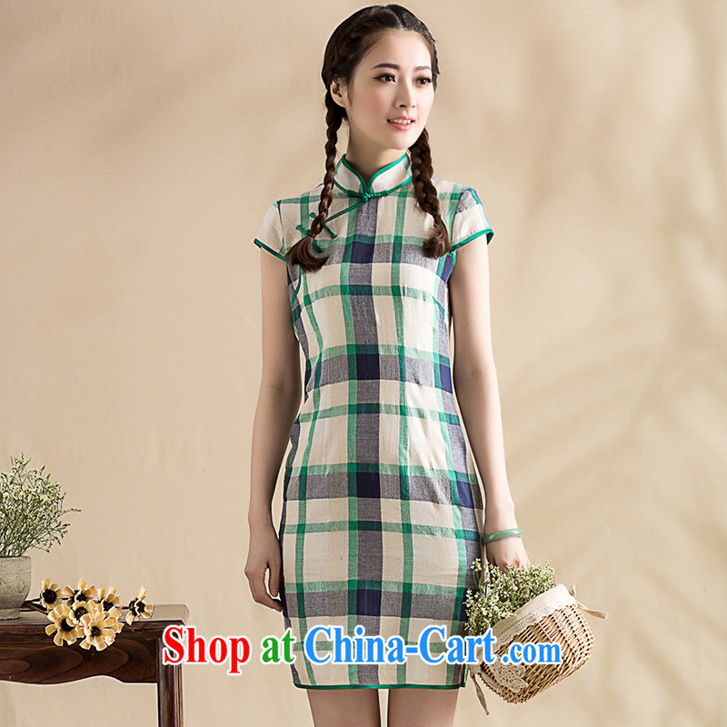 Royal Seal on original vintage cotton Ma tartan arts cheongsam improved daily Chinese elegance cheongsam dress tartan XXL