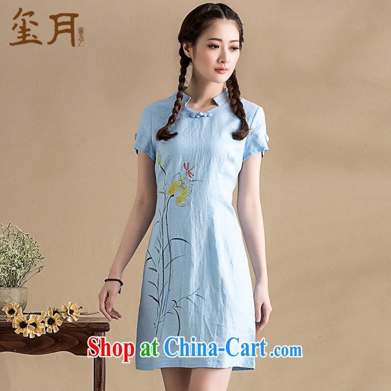 Royal Seal on 2015 original traditional hand-painted improved cheongsam retro art minimalist style, Ms. cheongsam dress picture color XL