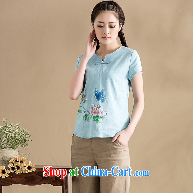 royal seal on the original cotton the Chinese culture quality lady V collar short-sleeve T-shirt hand-painted minimalist Sau San Tong T-shirt with light blue S seal, Yin Yue, shopping on the Internet