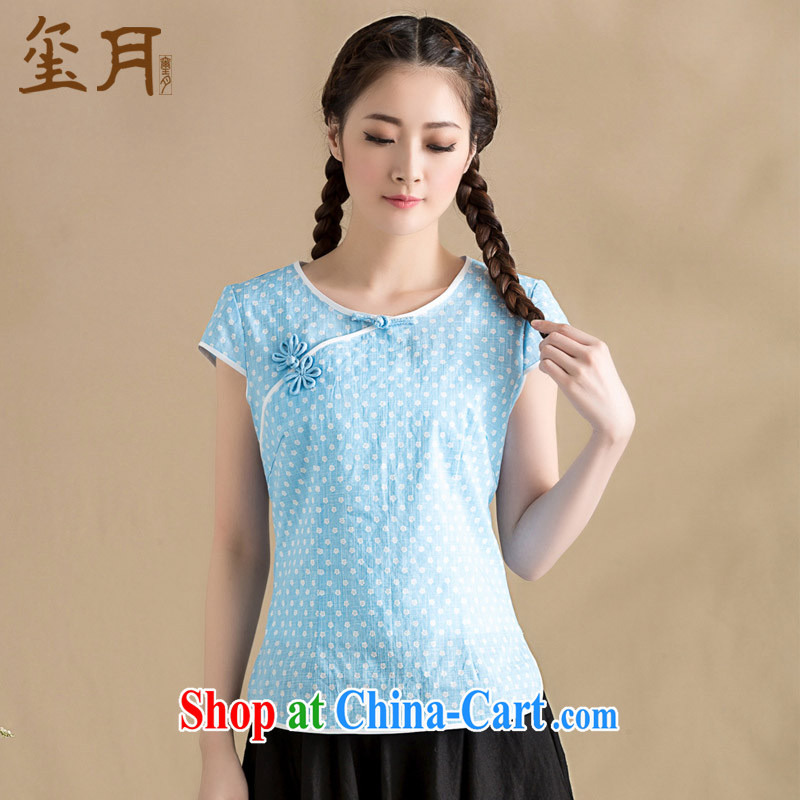 royal seal on the original 2015 new summer arts fresh T-shirt T-shirt wave-chinese-tie-neck trim female picture color M