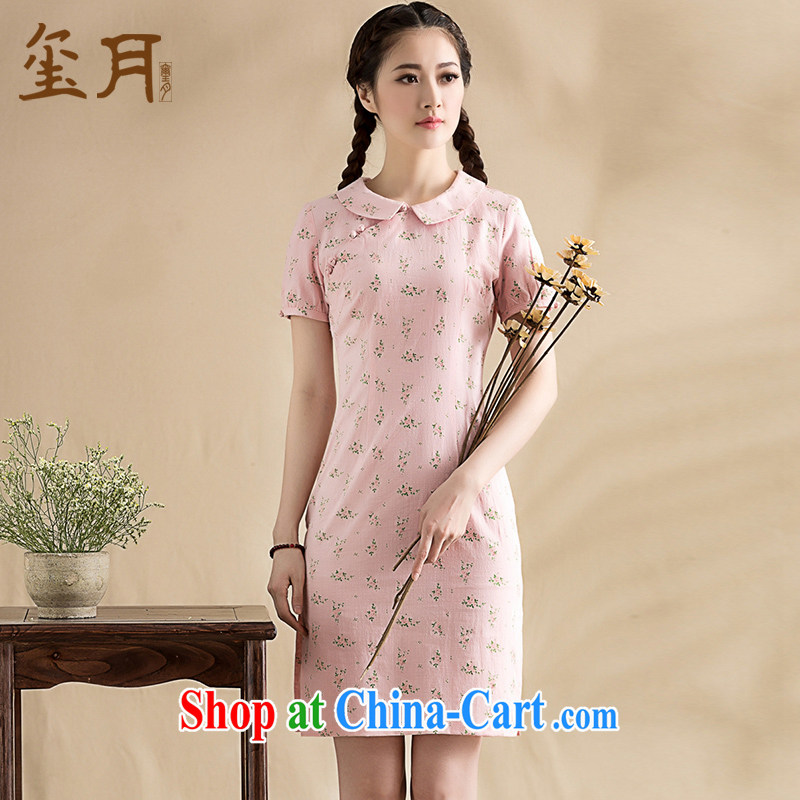 Seal, original 2015 floral doll for arts and cultural goods short-sleeved improved short cheongsam-style Chinese dresses debris pollen S