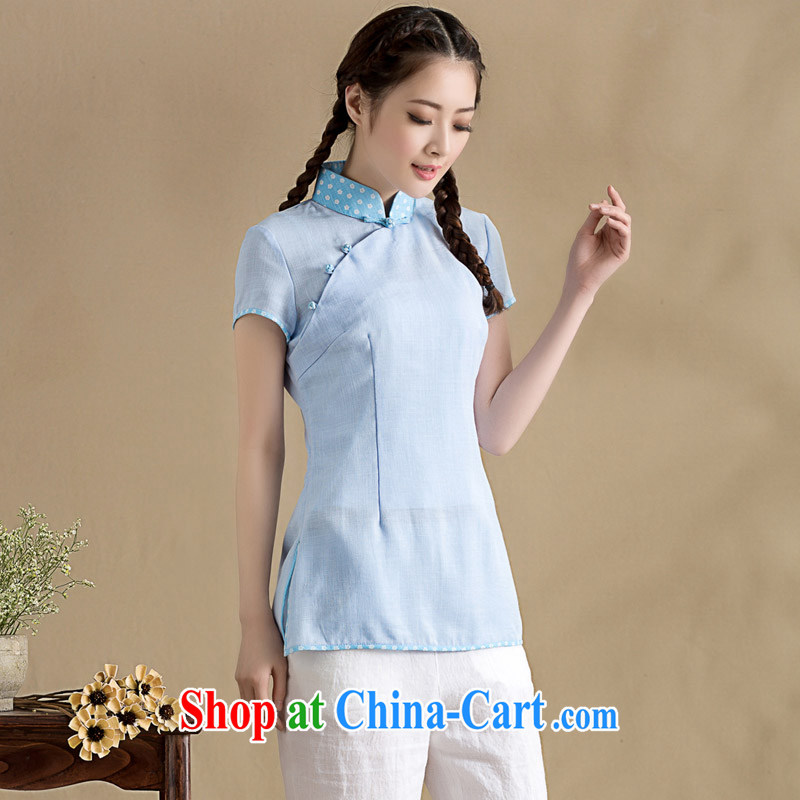 Royal Seal on 2015 original Chinese cotton MA, for Chinese T-shirt National wind is withholding the forklift truck Han-style female blue XXL